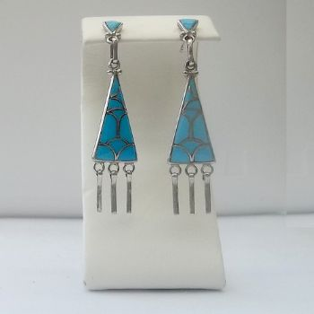 Traditional Turquoise Inlay Earrings